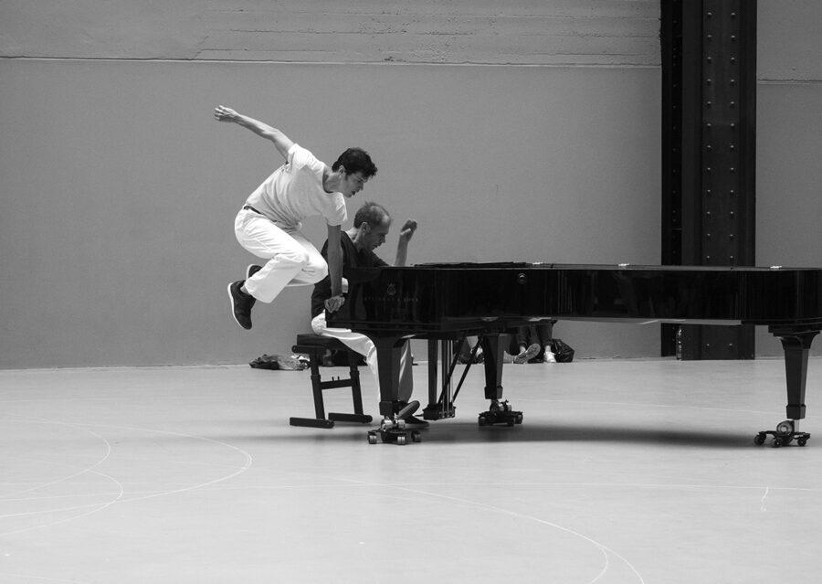 Dance piece by Anne Teresa De Keersmaeker at Tate Modern Turbine Hall.