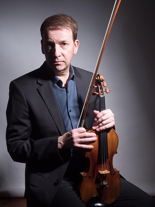 Stephen Bryant, leader of the BBC Symphony Orchestra. Studio portrait