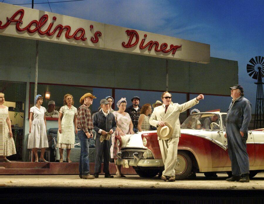Andrew Shore as Dulcamara in Elixir of Love. ENO London Colliseum