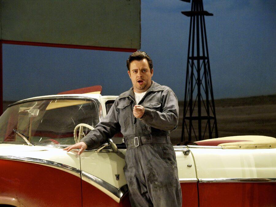 Ben Johnson as Nemorino in Elixir of Love. ENO London Colliseum.