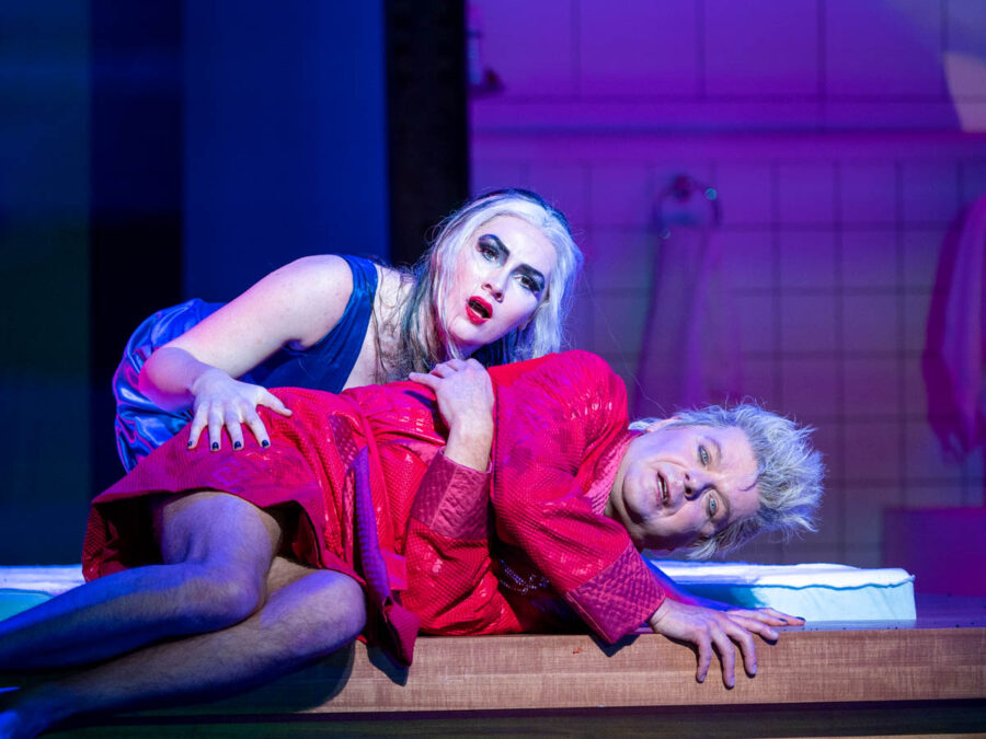 PETER HOARE as Orpheus the Man and MARTA FONTANALS-SIMMONS as Eurydice the Woman. THE MASK OF ORPHEUS