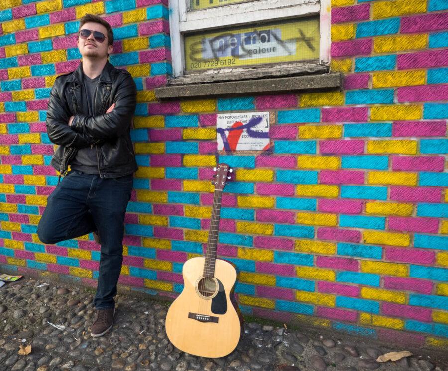 Matthew Cerveira. Musician photo shoot in an urban environment