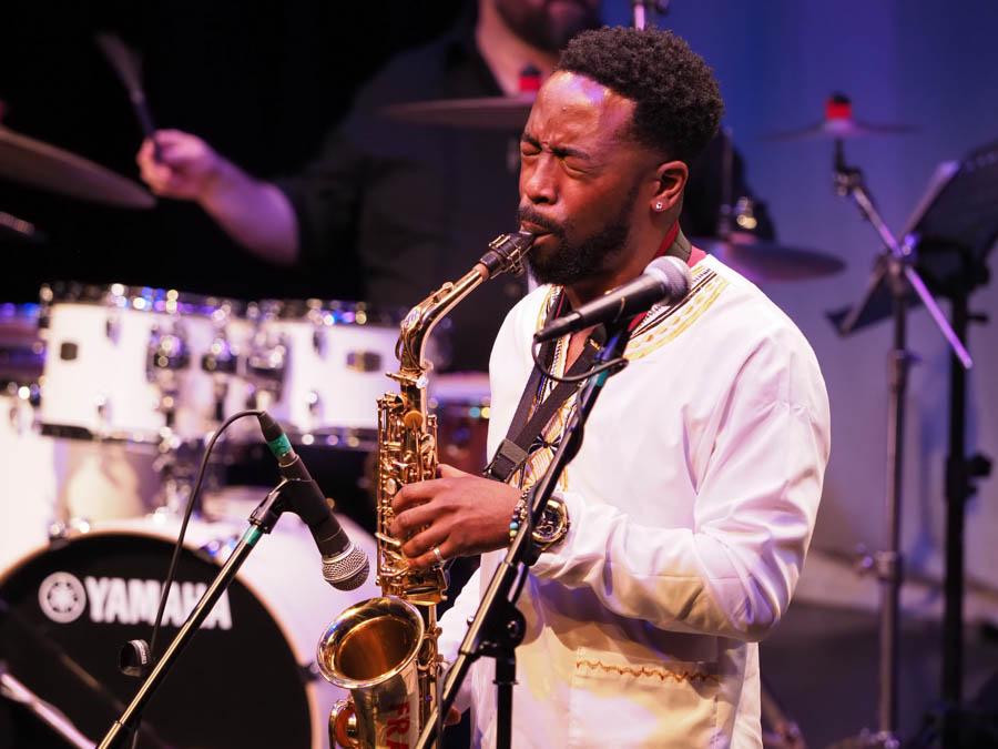 Marcus Joseph, saxophone player. The Exchange, Twickenham